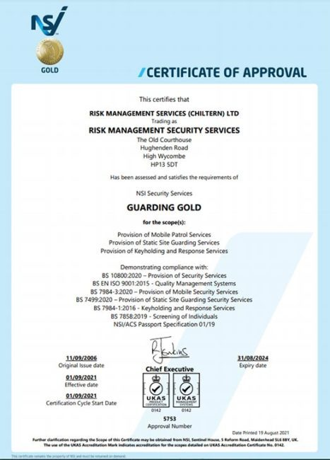 National Security Inspectorate Accredited Quality Management (incorporating BS 7858, BS 7499 and BS 7984-1)